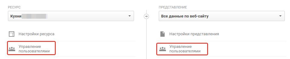 Управление доступом Google Analytics